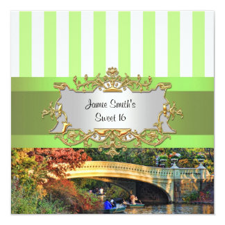 Bow Bridge, Central Park NYC Sweet 16 Invite
