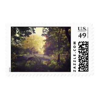 Bow Bridge Framed By Trees,Central Park, NYC Postage