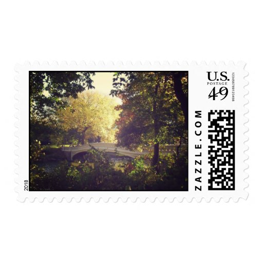 Bow Bridge Framed By Trees,Central Park, NYC Postage Stamps