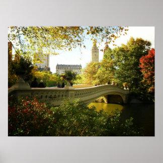 Bow Bridge in Autumn, Central Park, NYC, Medium Poster