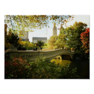 Bow Bridge in Autumn, Central Park, NYC, Small Poster