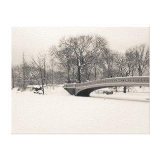 Bow Bridge in the Snow - Central Park Canvas Print