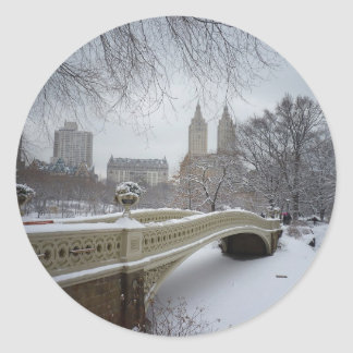 Bow Bridge in Winter, Central Park, New York City Classic Round Sticker
