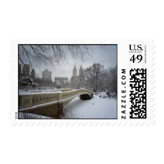 Bow Bridge in Winter, Central Park, New York City Postage