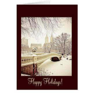 Bow Bridge Snow - Happy Holidays Card