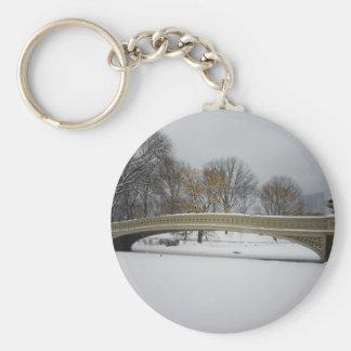Bow Bridge, Winter Landscape, New York City Basic Round Button Keychain