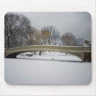 Bow Bridge, Winter Landscape, New York City Mouse Pad