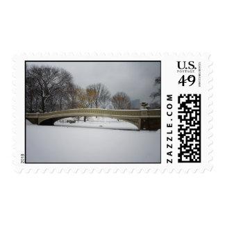 Bow Bridge, Winter Landscape, New York City Postage Stamps