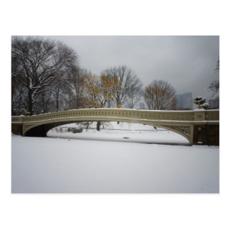 Bow Bridge, Winter Landscape, New York City Postcard