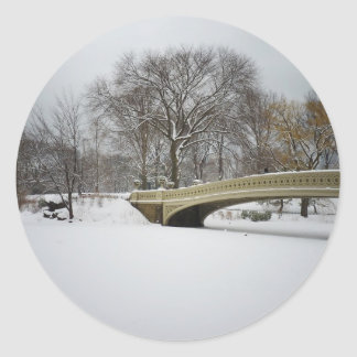Bow Bridge, Winter Trees, Central Park, NYC Classic Round Sticker