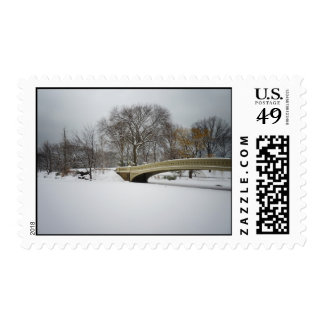 Bow Bridge, Winter Trees, Central Park, NYC Stamp