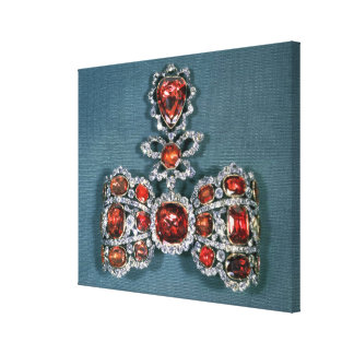 Bow brooch set with brilliant canvas print
