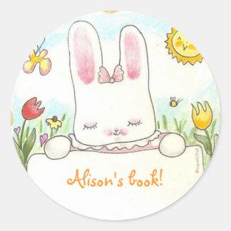 bow bunny bookplate classic round sticker