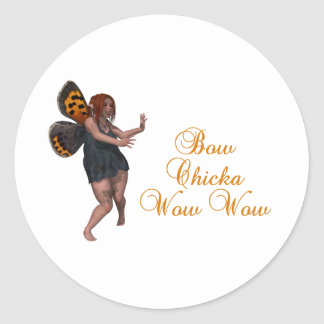 Bow chicka wow wow classic round sticker