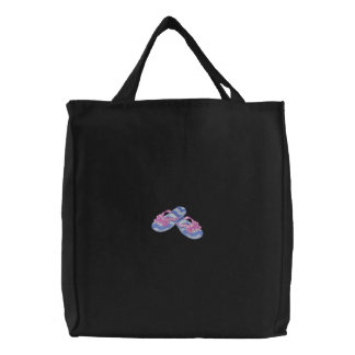 Bow Flip Flops Embroidered Tote Bag