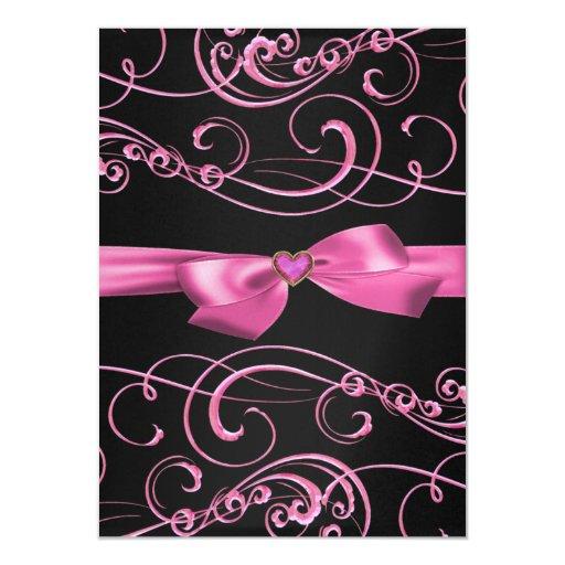 Bow/Heart Pink & Black Sweet 16 Birthday Invite