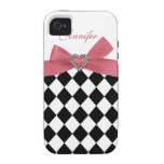 Bow & Jewel Print Black Checkered iPhone Case iPhone 4 Cover