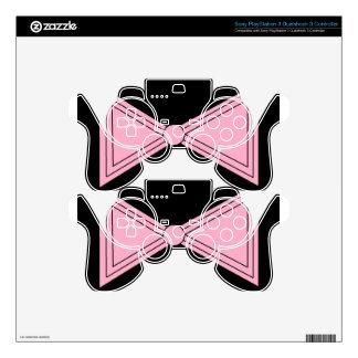 bow.jpg rosado mando PS3 calcomanía