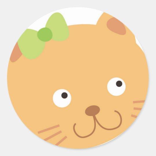 Bow Kitty Cat Classic Round Sticker