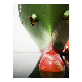 Bow Of A Red And Green Cargo Ship |Long Beach, Ca Postcard