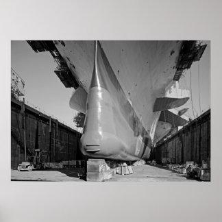 Bow of CV JFK in Drydock Poster