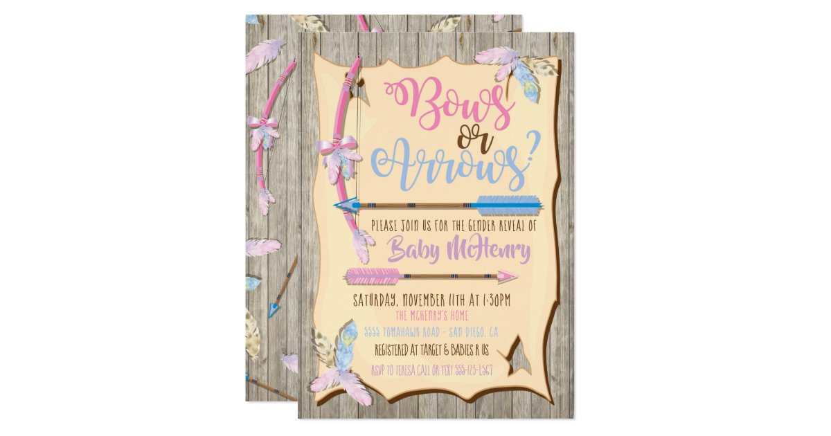 Bow or Arrows Gender Reveal Baby Shower Invitation | Zazzle.com