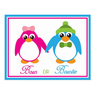 Bow or Bowtie Penguin Gender Reveal Invitations