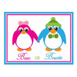 Bow or Bowtie Penguin Gender Reveal Invitations Postcard