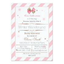 Bow Pink and Brown Mod baby shower invitation