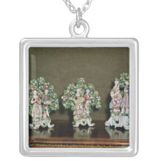 Bow porcelain figures, 1761 silver plated necklace