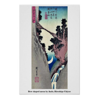 Bow shaped moon by Ando, Hiroshige Ukiyoe Poster