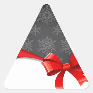 bow&Snowflakes Pegatina Triangular
