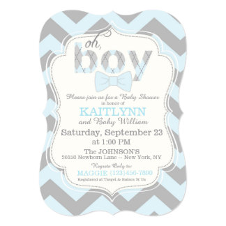 Bow-tie and Chevron Print Boy Baby Shower Invite
