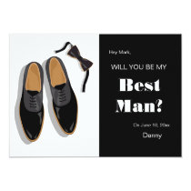 Bow Tie and Dress Shoes Best Man Request Card