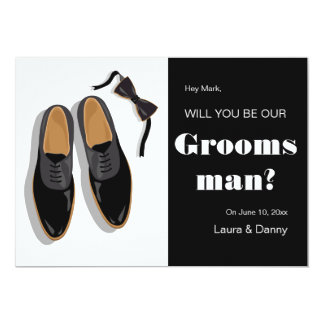 Bow Tie and Dress Shoes Groomsman Request Card
