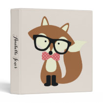 Bow Tie and Glasses Hipster Brown Fox 3 Ring Binder