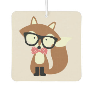 Bow Tie and Glasses Hipster Brown Fox Car Air Freshener