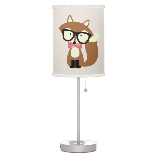 Bow Tie and Glasses Hipster Brown Fox Desk Lamp