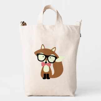 Bow Tie and Glasses Hipster Brown Fox Duck Bag