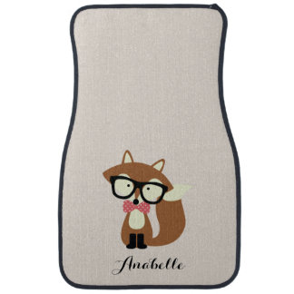 Bow Tie and Glasses Hipster Brown Fox Personalized Car Mat