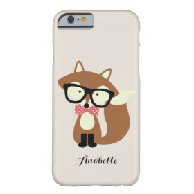 Bow Tie and Glasses Hipster Brown Fox Personalized Barely There iPhone 6 Case
