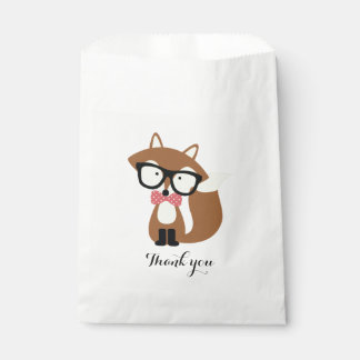 Bow Tie and Glasses Hipster Brown Fox Personalized Favor Bag