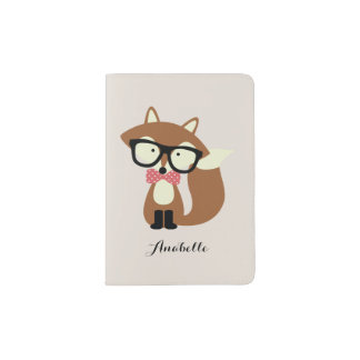 Bow Tie and Glasses Hipster Brown Fox Personalized Passport Holder
