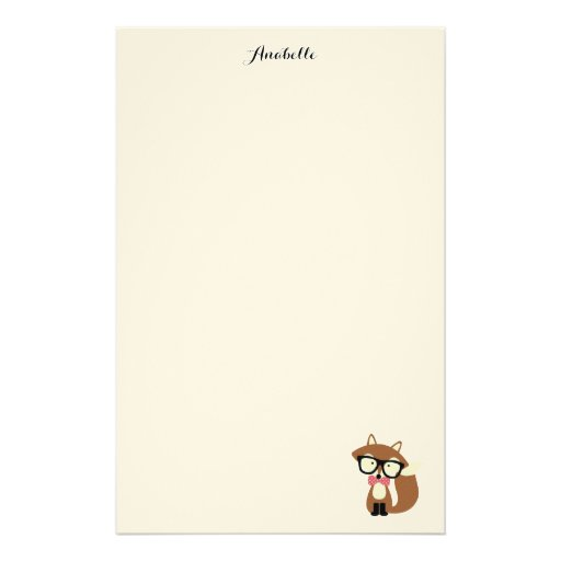 Bow Tie and Glasses Hipster Brown Fox Personalized Stationery Design