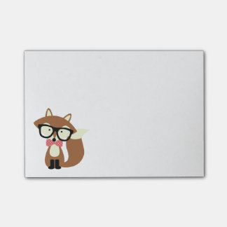 Bow Tie and Glasses Hipster Brown Fox Post-it® Notes