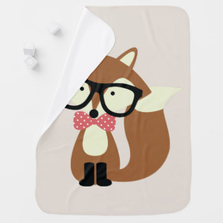 Bow Tie and Glasses Hipster Brown Fox Swaddle Blanket