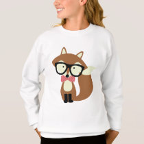 Bow Tie and Glasses Hipster Brown Fox Sweatshirt