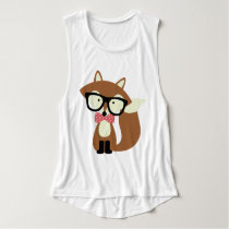 Bow Tie and Glasses Hipster Brown Fox Tank Top