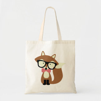Bow Tie and Glasses Hipster Brown Fox Tote Bag