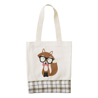 Bow Tie and Glasses Hipster Brown Fox Zazzle HEART Tote Bag